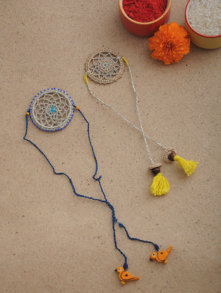 Blue-Yellow Thread Crochet Rakhi (Set of 2)