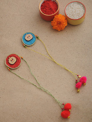 Blue-Red Thread Crochet Rakhi (Set of 2)