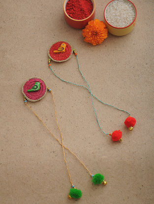 Green-Red Thread Crochet Rakhi (Set of 2)