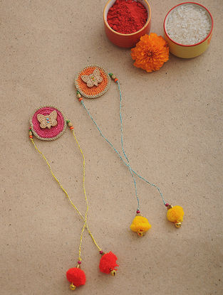 Pink-Orange Thread Crochet Rakhi (Set of 2)