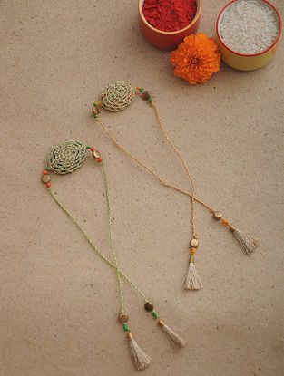 Golden Thread Crochet Rakhi (Set of 2)