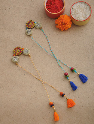 Orange-Blue Thread Crochet Rakhi (Set of 2)