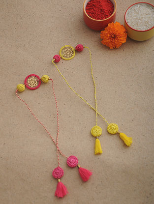 Yellow-Pink Thread Crochet Rakhi (Set of 2)