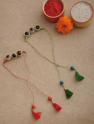 Red-Green Thread Crochet Rakhi (Set of 2)