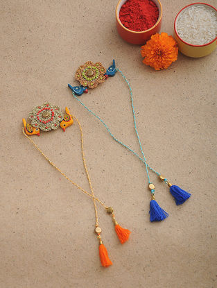 Blue-Orange Thread Crochet Rakhi (Set of 2)