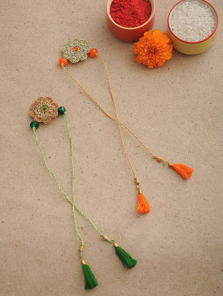 Orange-Green Thread Crochet Rakhi (Set of 2)
