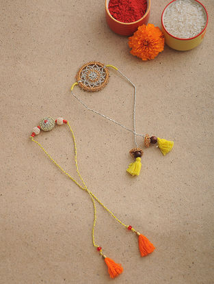 Orange-Yellow Thread Crochet Rakhi (Set of 2)
