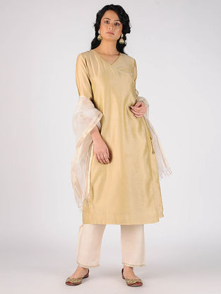 Beige Cotton Silk Angrakha