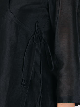 Black Cotton Silk Angrakha