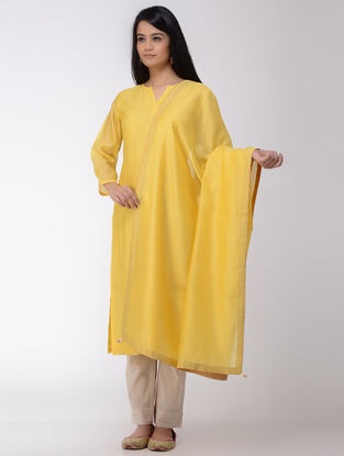 Yellow Chanderi Dupatta With Tissue and Beads Details