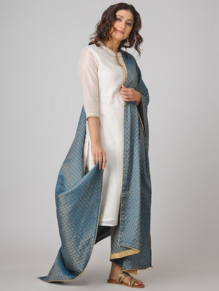 Blue Benarasi Muga Silk Jacquard Dupatta with Beads