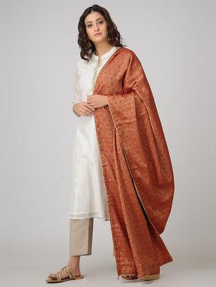 Red Benarasi Muga Silk Jacquard Dupatta