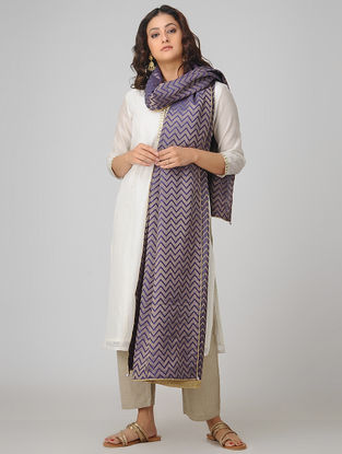 Purple Benarasi Muga Silk Jacquard Dupatta