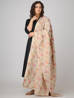 Ivory-Pink Benarasi Cotton Jacquard Dupatta