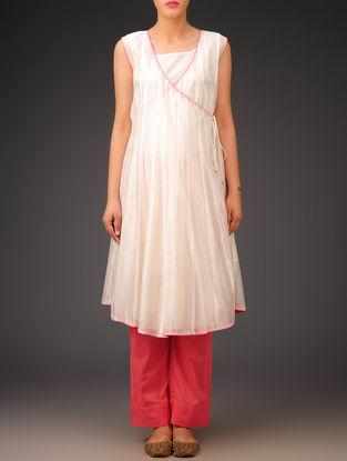 Cream-Pink Chanderi Angrakha Kurta with Lining Set of 2