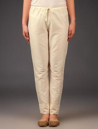Cream Raw Silk Pintuck Tie - Up Waist Pants
