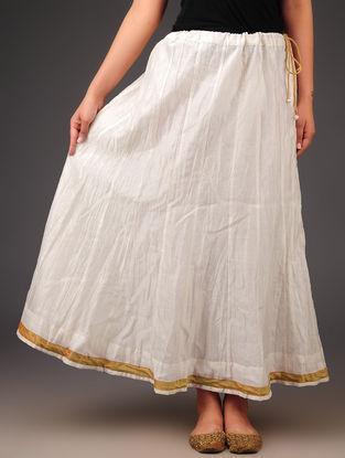 Cream - Bronze Chanderi Crushed Tie - Up Waist Skirt with Zari Border - Free Size