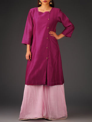 Fuschia Button Detailed Chanderi Kurta