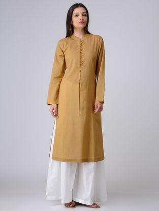 Olive Pleated Cotton Mul Kurta with Potli Buttons