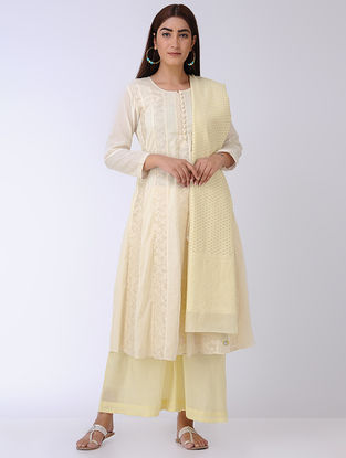 Ivory Banarasi Cotton Mul Kali Kurta with Cutwork