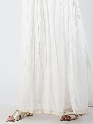 Ivory Tie-up Waist Cotton Skirt