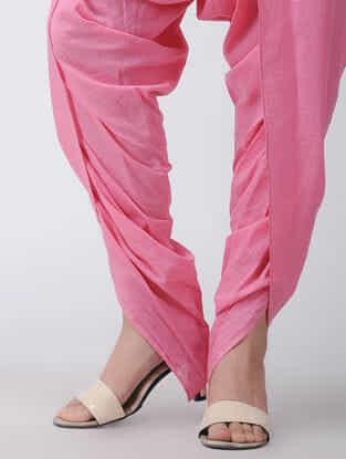Pink Tie-up Waist Cotton Dhoti Pants