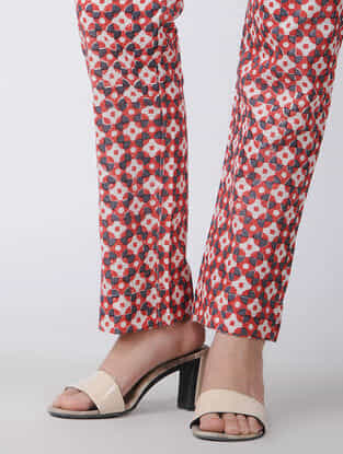 Red-White Block-printed Tie-up Waist Handwoven Cotton Pants