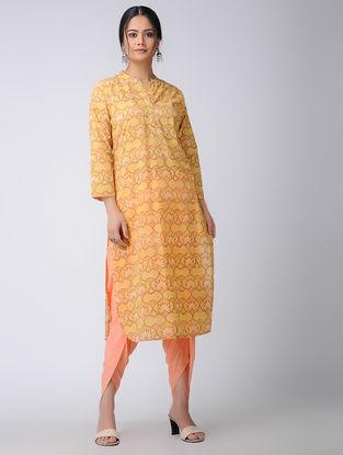 Orange Tie-up Waist Cotton Dhoti Pants