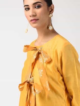 Mustard Chanderi-Benarasi Brocade Dress