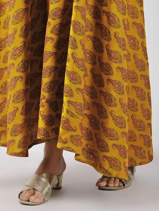 Mustard Tie-up Waist Art Silk Tanchoi Skirt