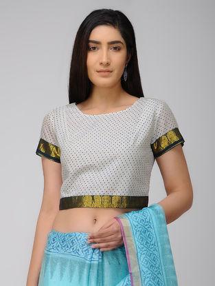Ivory-Blue Block-printed Cotton Blouse with Zari Border