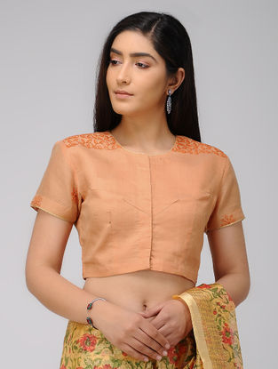 Orange Hand-embroidered Cotton Blouse