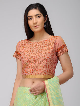 Orange Block-printed Cotton Blouse with Zari