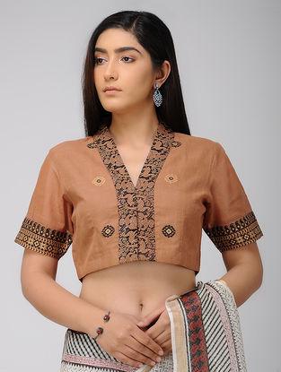 Brown-Black Hand Woven Cotton Blouse