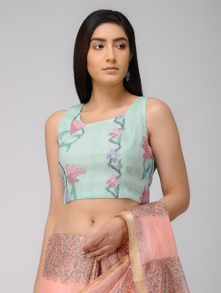 Green-Pink Hand-embroidered Cotton Blouse