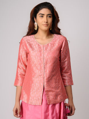 Pink Handwoven Silk Tanchoi Top