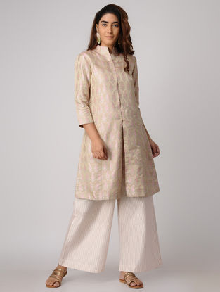 Beige Handwoven Silk Tanchoi Jacket