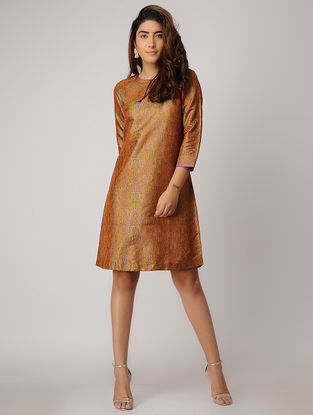 Mustard Handwoven Silk Tanchoi Dress