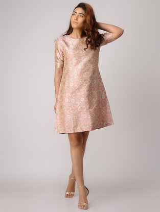 Peach Handwoven Silk Tanchoi Dress