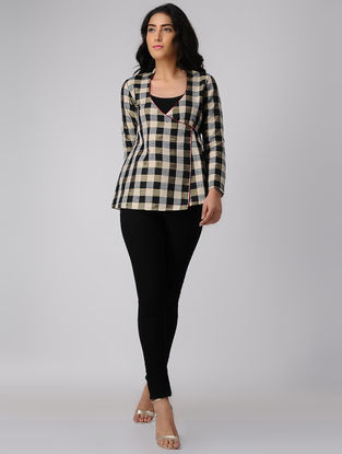 Black-Beige Checkered Handwoven Silk-Cotton Jacket