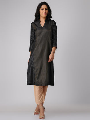 Black Silk-Cotton Kurta with Zari