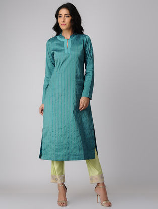 Blue Silk-Cotton Kurta with Zari