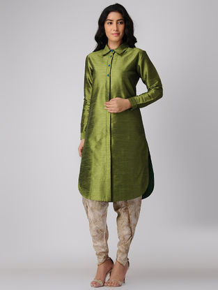 Green Button Down Silk-Cotton Kurta