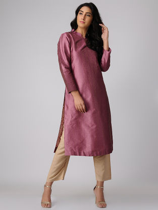 Plum Silk-Cotton Kurta with Zari