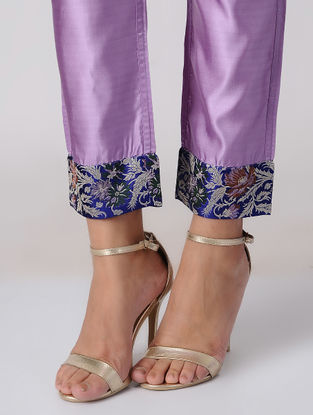 Purple Tie-up Waist Handwoven Silk Pants