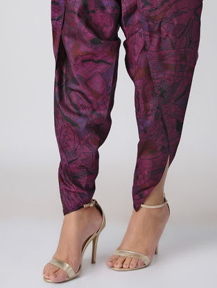 Purple Tie-up Waist Printed Silk Dhoti Pants