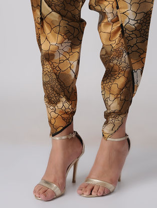 Brown Tie-up Waist Printed Silk Dhoti Pants