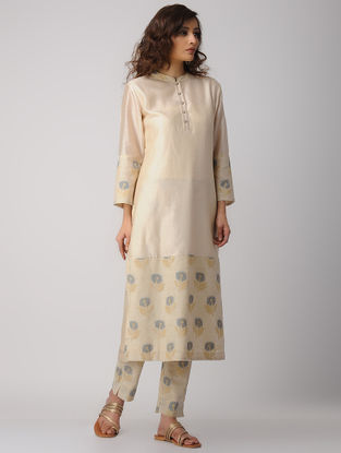 Beige Handwoven Chanderi-Cotton Kurta with Jacquard Trims