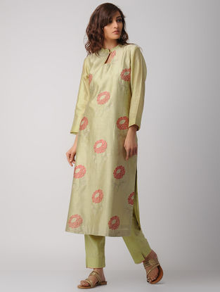 Beige Handwoven Chanderi-Cotton Kurta with Embroidery