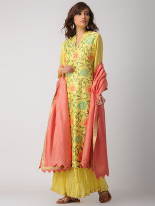 Yellow Handwoven Chanderi-Cotton Kurta with Embroidery